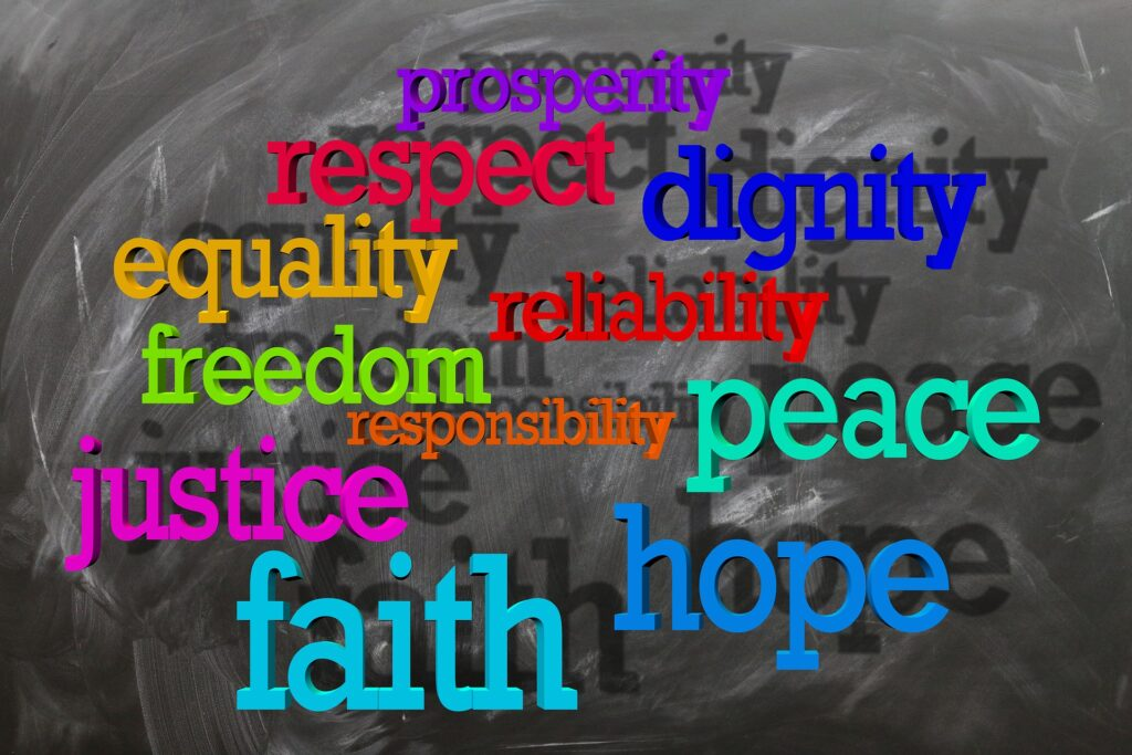 words: respect, dignity, equality, peace, justice, hope