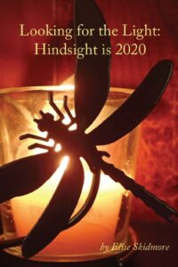 Cover Looking for the Light: Hindsight is 2020 by Elise Skidmore shows dragonfly silhouette on candle
