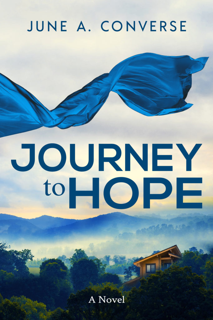 Journey to Hope cover - blue scarf waving over blue ridge mountains with cabin in the distance